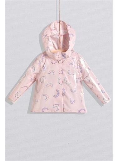 Wogi Wogi Kız Bebek Gökkuşağı Baskılı Kapşonlu Yağmurluk  WG20S-5440 Renkli